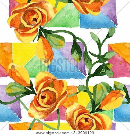Yellow Freesia Floral Botanical Flowers. Watercolor B Ackground Illustration Set. Seamless Backgroun
