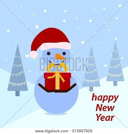 Funny Snowman With A Red Present On The Winter Forest Background