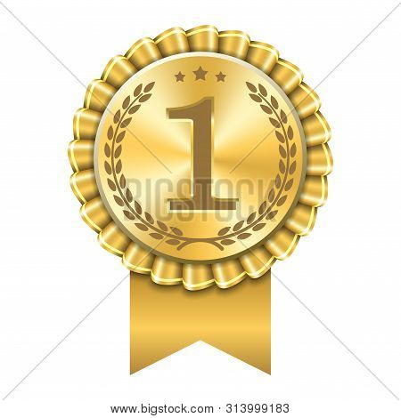 Award Ribbon Gold Icon Number First. Design Winner Golden Medal 1 Prize. Symbol Best Trophy, 1st Suc