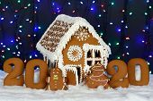 The hand-made eatable gingerbread house, 2020 inscription, little man, New Year tree, snow decoration, garland background illumination poster