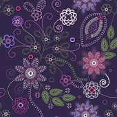 Decorative floral embroidery seamless background. Vector illustration. poster