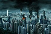 Illustration of fictitious destruction of chaotic Hong Kong city skyline with fires, explosion. Concept of riots, war, disasters, judgement day, fire, terrorism, apocalypse. poster