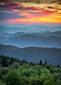 Blue Ridge Parkway Scenic Landscape Appalachian Mountains Ridges Sunset Layers over Great Smoky Mountains National Park poster