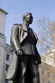 Bronze statue of Hugh Trenchard, 1st Viscount Trenchard, 1873 - 1956.  Known as the father of the RAF.  Victoria Embankment Gardens, Whitehall, Westminster, London. poster
