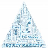 Equity Markets word cloud. Vector made with text only poster