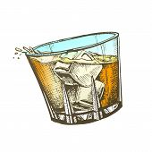 Design Glass With Whisky And Ice Cubes Vector. Hand Drawn Glass With Cold Irish Booze Distilled And Aging In Wooden Barrel. Mug Alcoholic Drink And Splash Template Color Illustration poster
