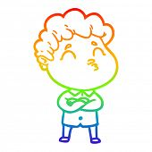 rainbow gradient line drawing of a cartoon man pouting poster