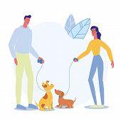People on Stroll with Pets Vector Illustration. Happy Man and Woman with Puppies on Leash Cartoon Characters. Dog Show, Walking Service. Young Domestic Animal Owners, Dachshund and Pooch Outdoor poster
