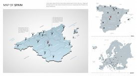 Vector Set Of Spain Country.  Isometric 3d Map, Spain Map, Europe Map - With Region, State Names And