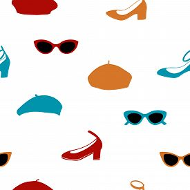 Hand Drawn Seamless Pattern With Sunglasses, Shoes And Berets.