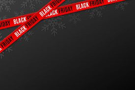 Template For Black Friday Sale On Black Background. Crossed Red Ribbons With Text. Snowflakes Backgr
