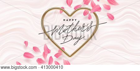 Mothers Day Vector Illustration. Calligraphic Greeting In Heart Shaped Metallic Frame And Flower Pet