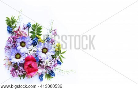 Lilac Chrysanthemums And Pink Tulips On A White Background. Bright Floral Arrangement. Background Fo