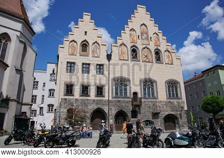 Wasserburg Am Inn, Bavaria, Germany - July 12, 2020: The Historic Town Hall Of Wasserburg Am Inn, Ba