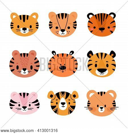 Adorable Tigers. Set Of Cute Cartoon Animals Portraits. Fits For Designing Baby Clothes. Hand Drawn