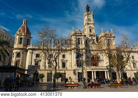 Valencia, Spain. February, 24, 2021 - City Hall In The Town Hall Square, With People Enjoying Of Str