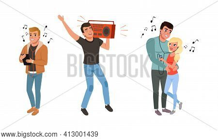 Man And Woman Character With Headphones Listening To Music And Picking Up The Tune Vector Set