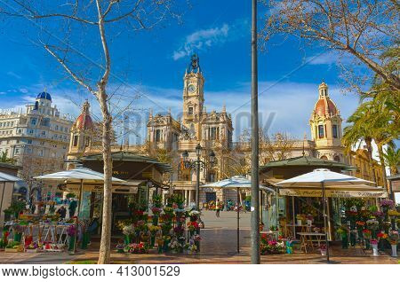 Valencia, Spain. February, 24, 2021 - City Hall In The Town Hall Square, With Typical Flower Shops I