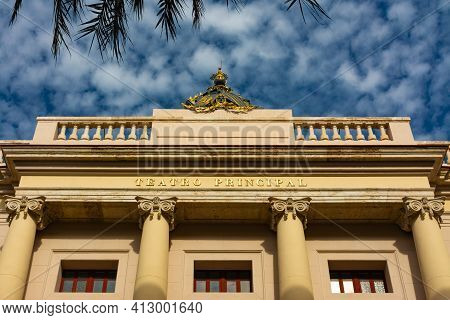 Valencia, Spain. February, 24, 2021 - Top Of Facade Of Principal Theater Of Valencia Building With C