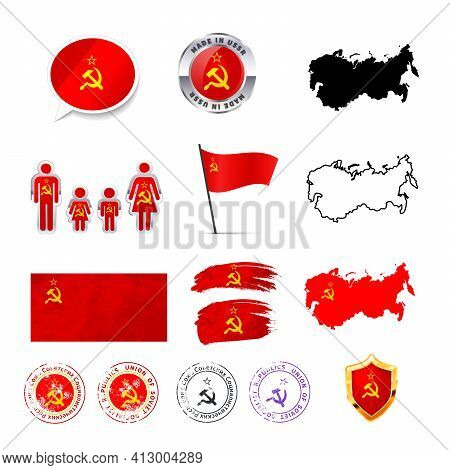Large Set Of Ussr Infographics Elements With Flags, Maps And Badges On White