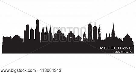Melbourne Australia City Skyline Detailed Vector Silhouette