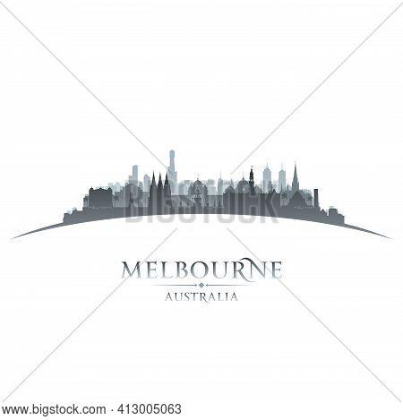Melbourne Australia City Skyline Silhouette. Vector Illustration