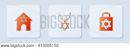 Set Star Of David Necklace On Chain, Jewish Synagogue And Shopping Bag With Star David. White Square