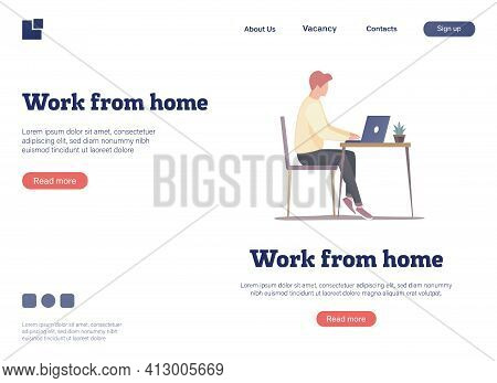 Home Office Workplace. Landing Page Design Concept. Flat Illustration Of Home Workplace. A Man With