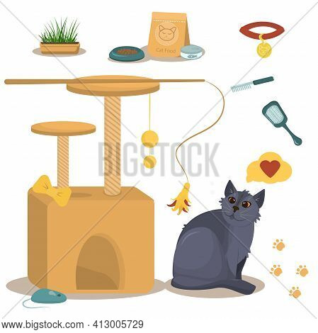 Vector Illustration On The Theme Of Domestic Cats. British Grey Cat Along With A Cat House, Food And