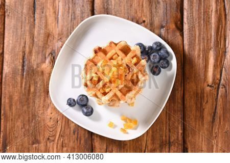 Appetizing Waffles With Jam For Dessert, Top View.