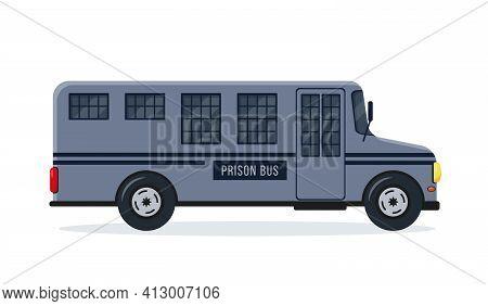 Prison Bus Or Car. Prisoner Transport Icon.
