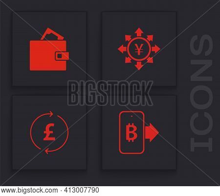 Set Mining Bitcoin From Mobile, Wallet With Money, Coin Yen And Pound Icon. Vector