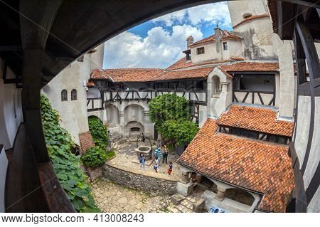 Bran, Transylvania, Romania - July 22, 2020: View Of Inner Yard Of Bran Castle Dated From 13th Centu