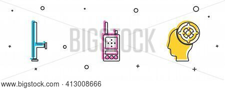 Set Police Rubber Baton, Walkie Talkie And Target Sport Icon. Vector