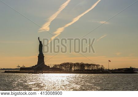 New York, Usa-march9,2020:the Statue Of Liberty,a Copper Neoclassical Sculpture On Liberty Island In