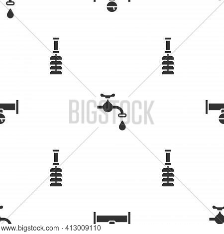 Set Industry Pipe And Manometer, Water Tap And Toilet Brush On Seamless Pattern. Vector