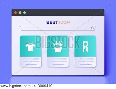 Set Basin With Soap Suds, Drying Clothes And Clothes Pin Icon. Vector