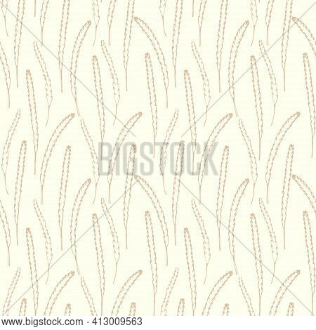 Seamless Background With Spikelets Of Wheat. Spikelets Of Cereals, Continuous Repeating Pattern.vect