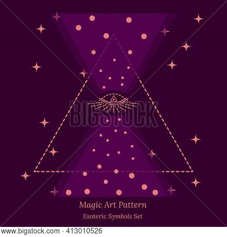 Esoteric Symbols Of Opening Of Third Eye Of Soul, Cosmic Hourglass. Science Illustration, Peep Into