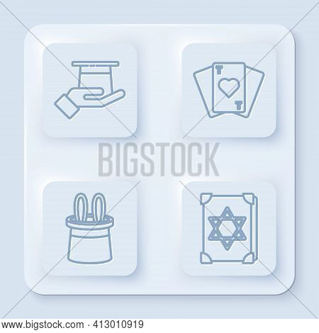 Set Line Magician Hat In Hand, Playing Cards, Magician Hat And Rabbit Ears And Ancient Magic Book. W