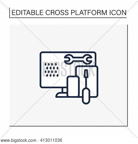 Coding Toolkit Line Icon. Software Development Tools. Instruments For Creating Programming Code. Com