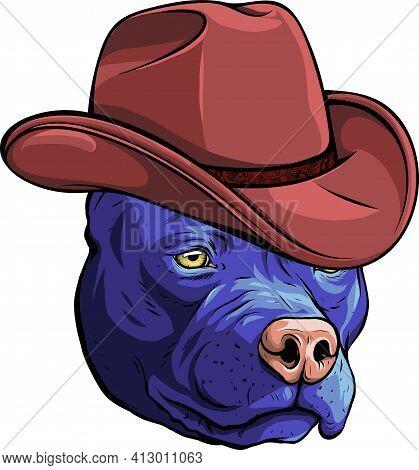 Gangster Dog With Elegant Hat Vector Illustration