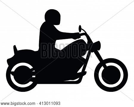Motorcycle Rider Side View Silhouette Isolated Vector Illustration