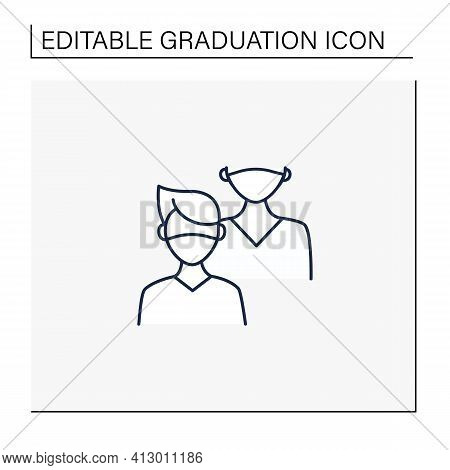 Junior Line Icon. Younger Student. Freshman, First-year Student. Protection From Other People. Train