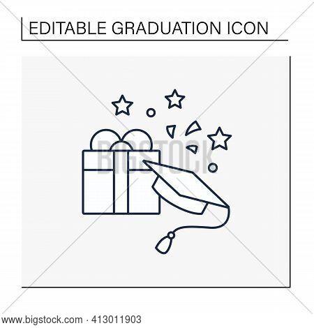 Graduation Gift Line Icon.gift On Graduation Occasion. Pleasant Presents. Special Surprise. Graduate