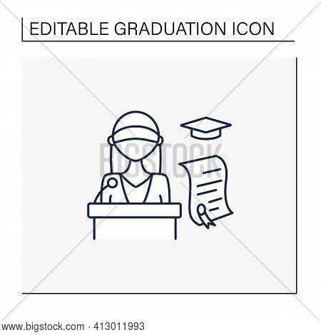 Graduation Ceremony Line Icon. Professor Gives Students Education Documents. Motivation Speech. Dipl