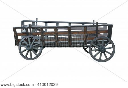 Old Decrepit Horse-drawn Carriage, On A White Background In Isolation