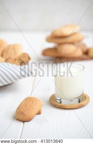 Freshly Baked Homemade Crunchy Cookies With Glass Of Milk. A Delicious Treat For Gourmets, Sweet Bre