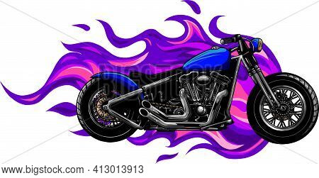 Colored Fiery Custom Motorcycle Vector Illustration Design