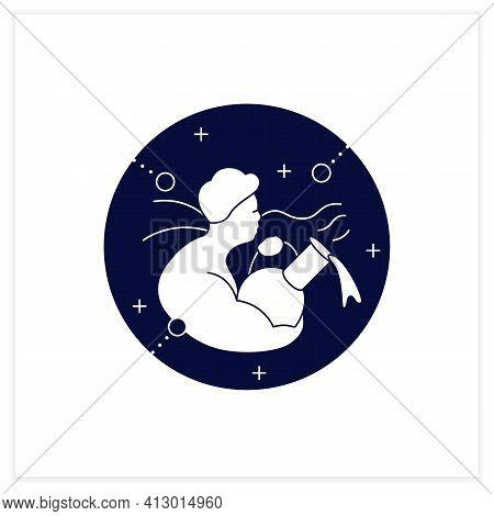 Aquarius Flat Icon. Eleventh Fire Sign In Zodiac. Water Bearer Birth Symbol. Mystic Horoscope Sign.